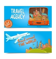 around world travel agency horizontal banners vector image