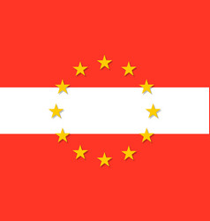 Austria national flag with a circle of eu vector