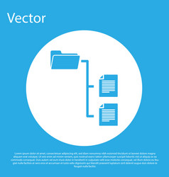 Blue folder tree icon isolated on blue background vector