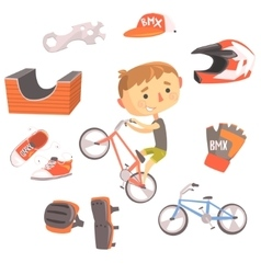 Boy BMX Bike Rider Kids Future Dream Professional vector image
