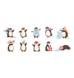 Bundle of adorable penguins wearing winter vector