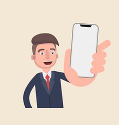 business man show smart phone vector image
