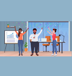 Business people raising arms colleagues having vector