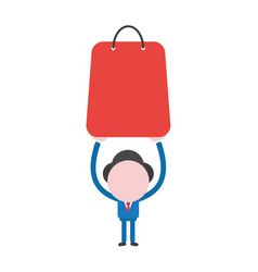 Businessman character holding up red shopping bag vector