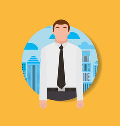 businessman worker man character and urban vector image
