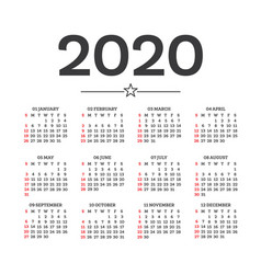calendar 2020 isolated on white background week vector image