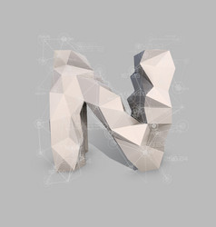 capital latin letter n in low poly style vector image