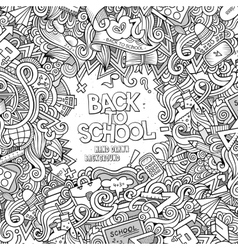 Cartoon doodles hand drawn school frame vector