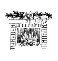 christmas fireplace image vector image