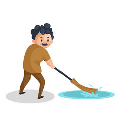 cleaning man vector image