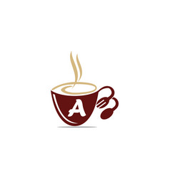 Coffee cup restaurant letter a vector
