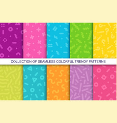 collection trendy seamless bright vector image