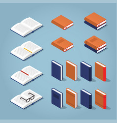 colorful isometric book collection vector image