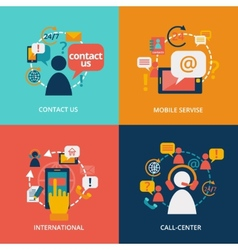 Contact us flat vector image