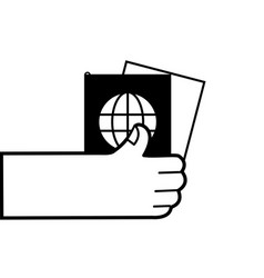 Contour hand with passport to travel document id vector
