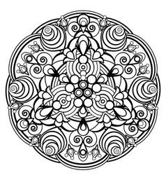 contour monochrome Mandala ethnic religious design vector image