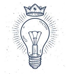 Creative idea light bulb linear logo or icon vector