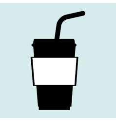 Cup plastic straw icon vector
