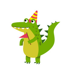 Cute cartoon crocodile character wearing party hat vector