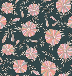 Dark Seamless pattern with elegant flowers vector image
