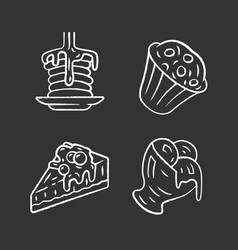 Desserts chalk icons set pancakes muffin vector