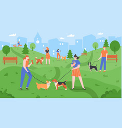 dogs at park pets playing in dog park people vector image