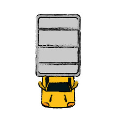 Drawing truck top view parking lot vector