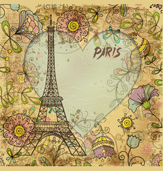 Eiffel tower paris postcard vector