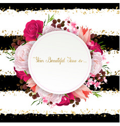 elegance flowers frame of color roses and tulips vector image