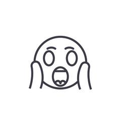 face screaming emoji concept line editable vector image