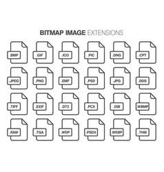 Flat style icon set bitmap image file type vector