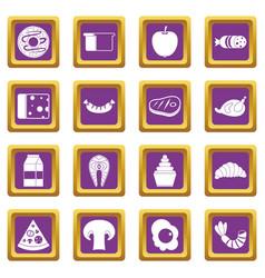 Food icons set purple vector
