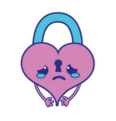 Full color crying heart padlock kawaii personage vector