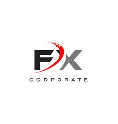fx modern letter logo design with swoosh vector image