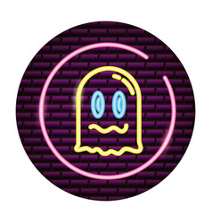 Ghost video game neon vector