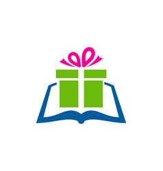 Gift book logo icon design vector