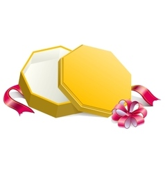 Gift yellow open box tied with bow vector