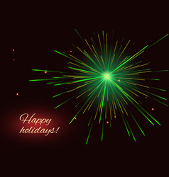green fireworks greeting holidays background vector image