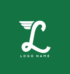 green white l letter with wings logo template vector image