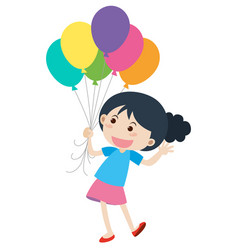 happy girl and colorful balloons vector image