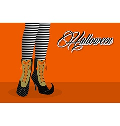 happy halloween witch legs eps10 file vector image