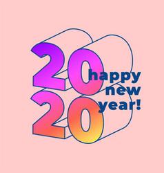 happy new 2020 year typographic minimal poster vector image