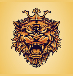 head king lion logo with ornaments vector image