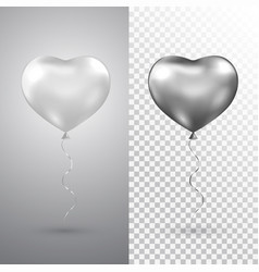 heart silver balloons set on transparent vector image