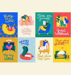 Home rest cards set vector