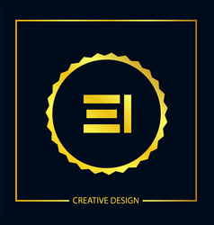 initial ei letter logo template design vector image