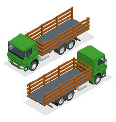 Isometric flatbed truck template isolated on white vector