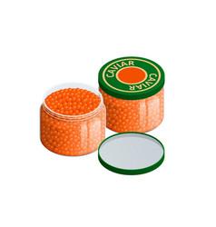 Isometric salmon red caviar raw seafood luxury vector