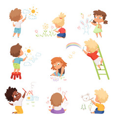 kids artists children playing and drawing vector image