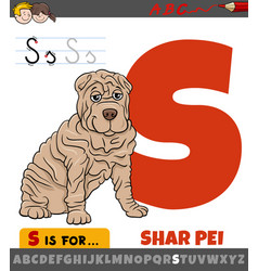 Letter s worksheet with cartoon shar pei purebred vector